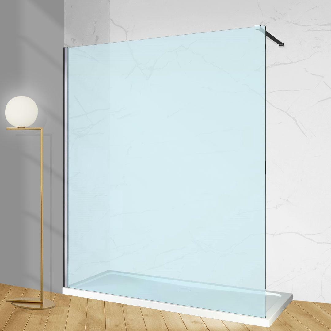 specialisti del bagno box doccia cannes parete fissa walk-in angolare 120 reversibile trasparente da 8mm specialistidelbagno