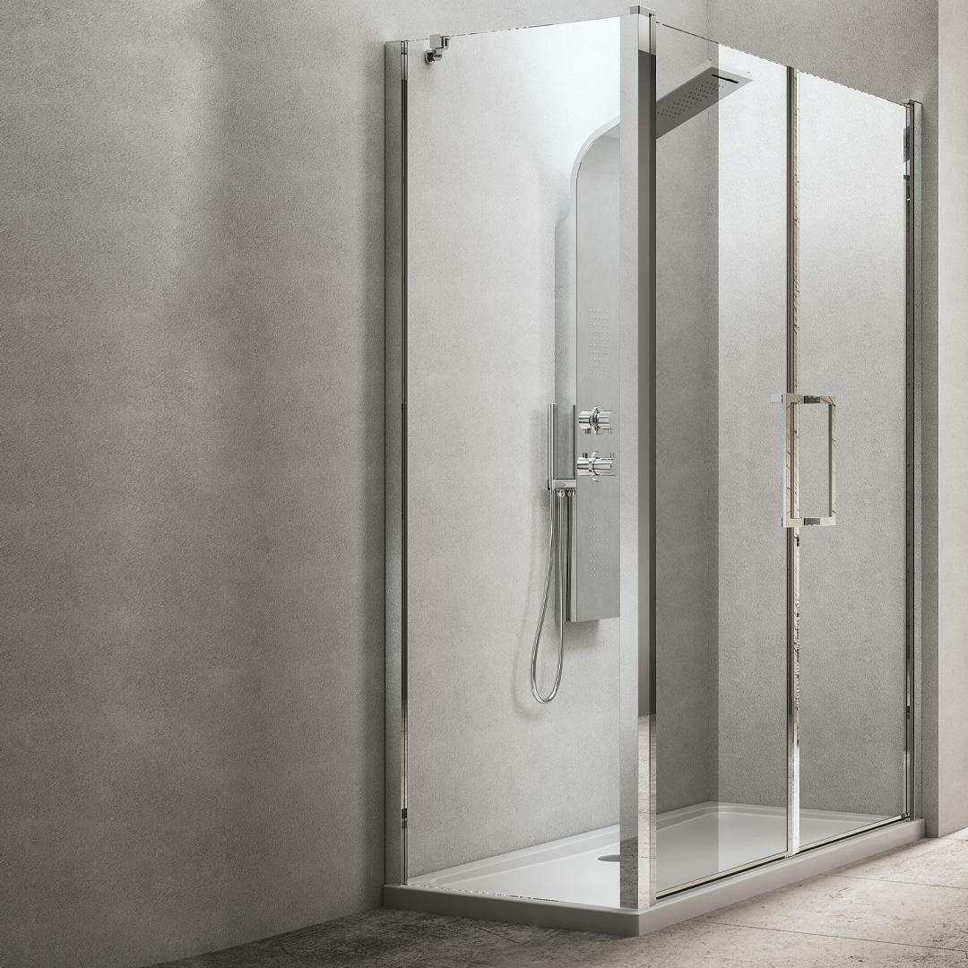 specialisti del bagno box doccia maiori porta saloon angolo 90x150 reversibile trasparente 8mm specialistidelbagno