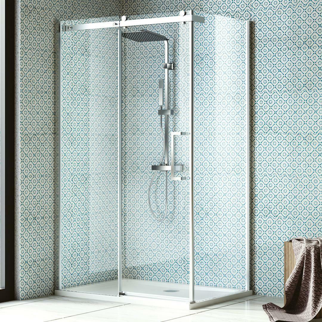specialisti del bagno box doccia nizza porta scorrevole + fisso 80x100 reversibile trasp. 8mm specialistidelbagno