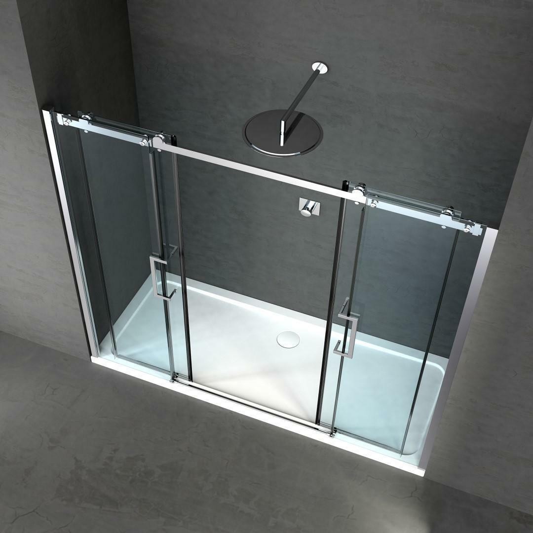 specialisti del bagno box doccia nizza doppia porta nicchia 200 reversibile trasp. 8mm specialistidelbagno