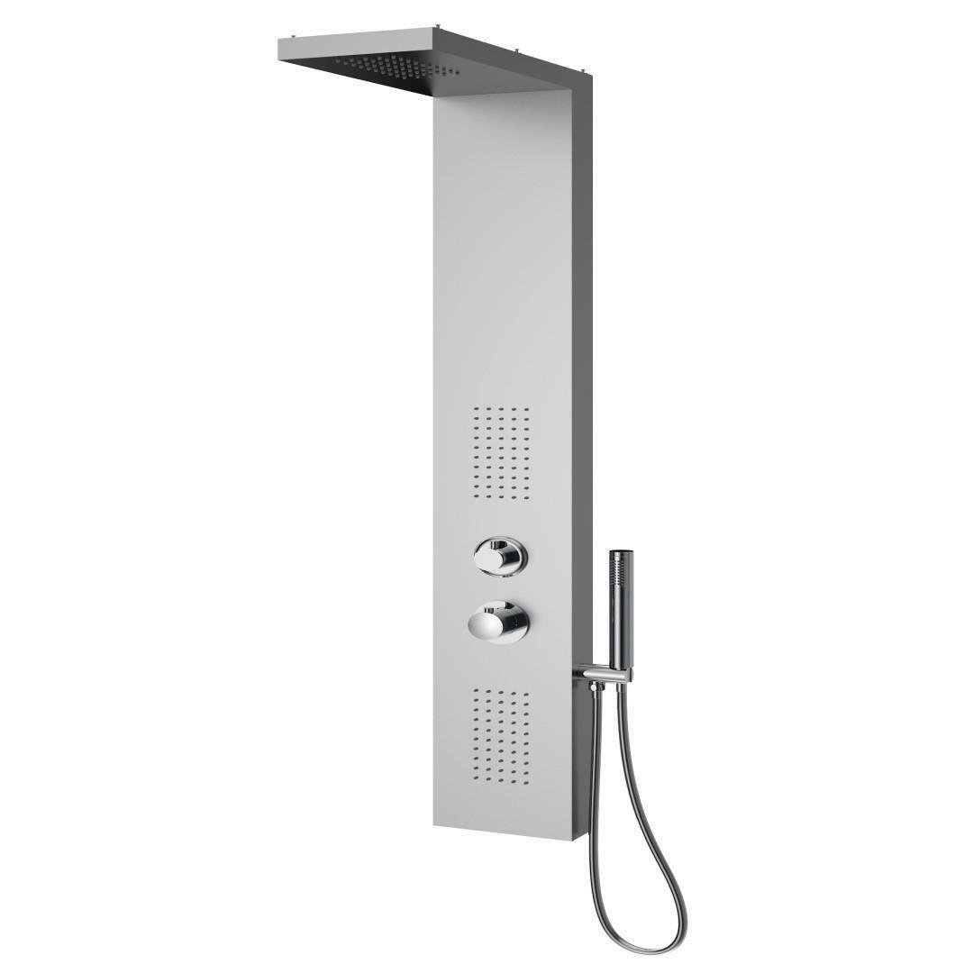specialisti del bagno colonna doccia aqua termostatica con soffione a 90 gradi acciaio inox satinato specialistidelbagno