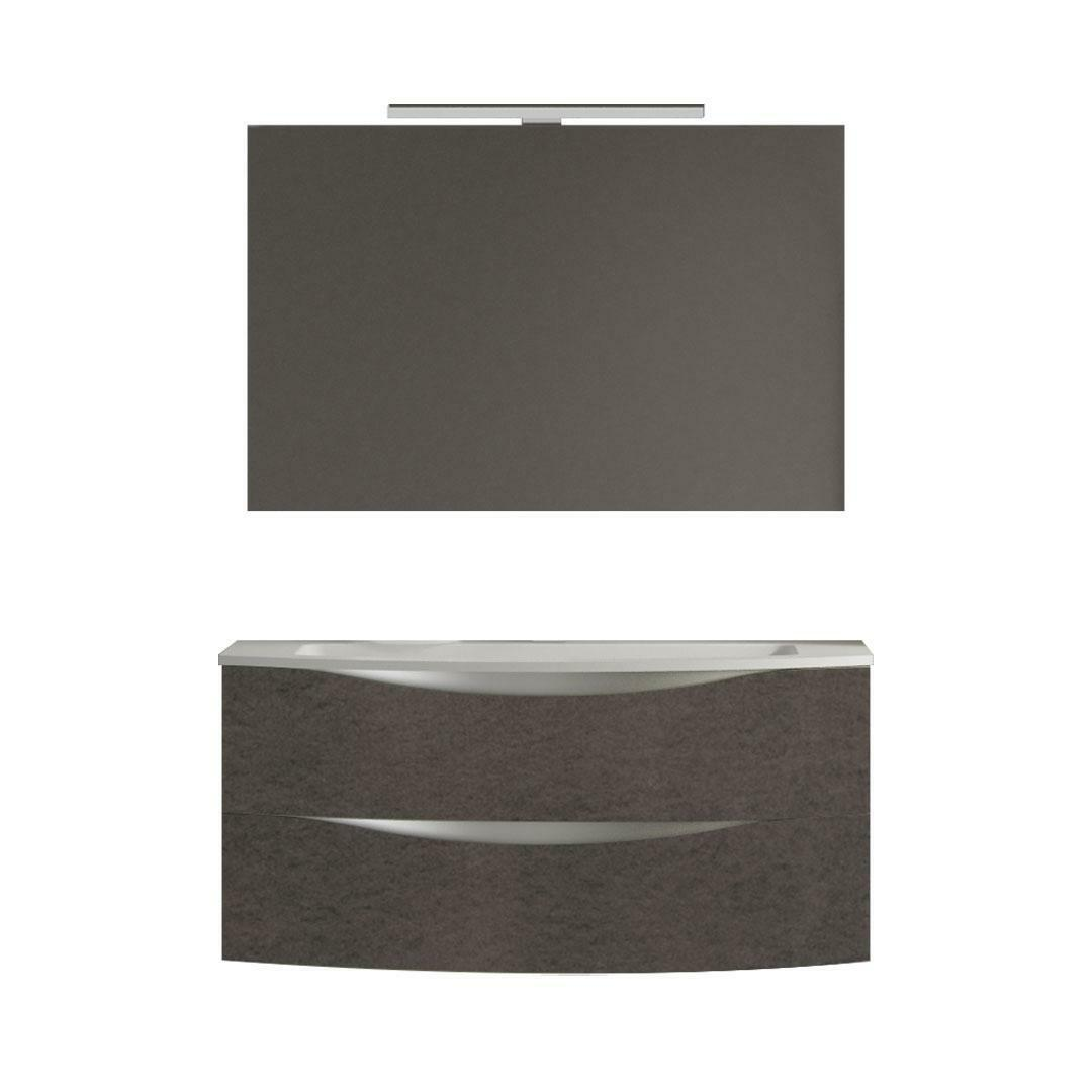 specialisti del bagno mobile da bagno monoblocco sospeso curvo privo di maniglie con specchio e lampada in laminato l 99 specialistidelbagno