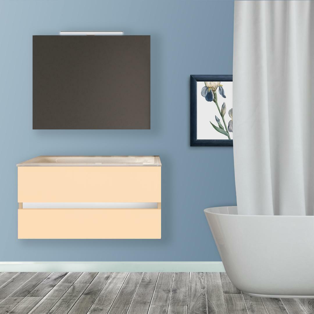 specialisti del bagno mobile da bagno monoblocco sospeso privo di maniglie con specchio e lampada laccato lucido l 70 specialistidelbagno