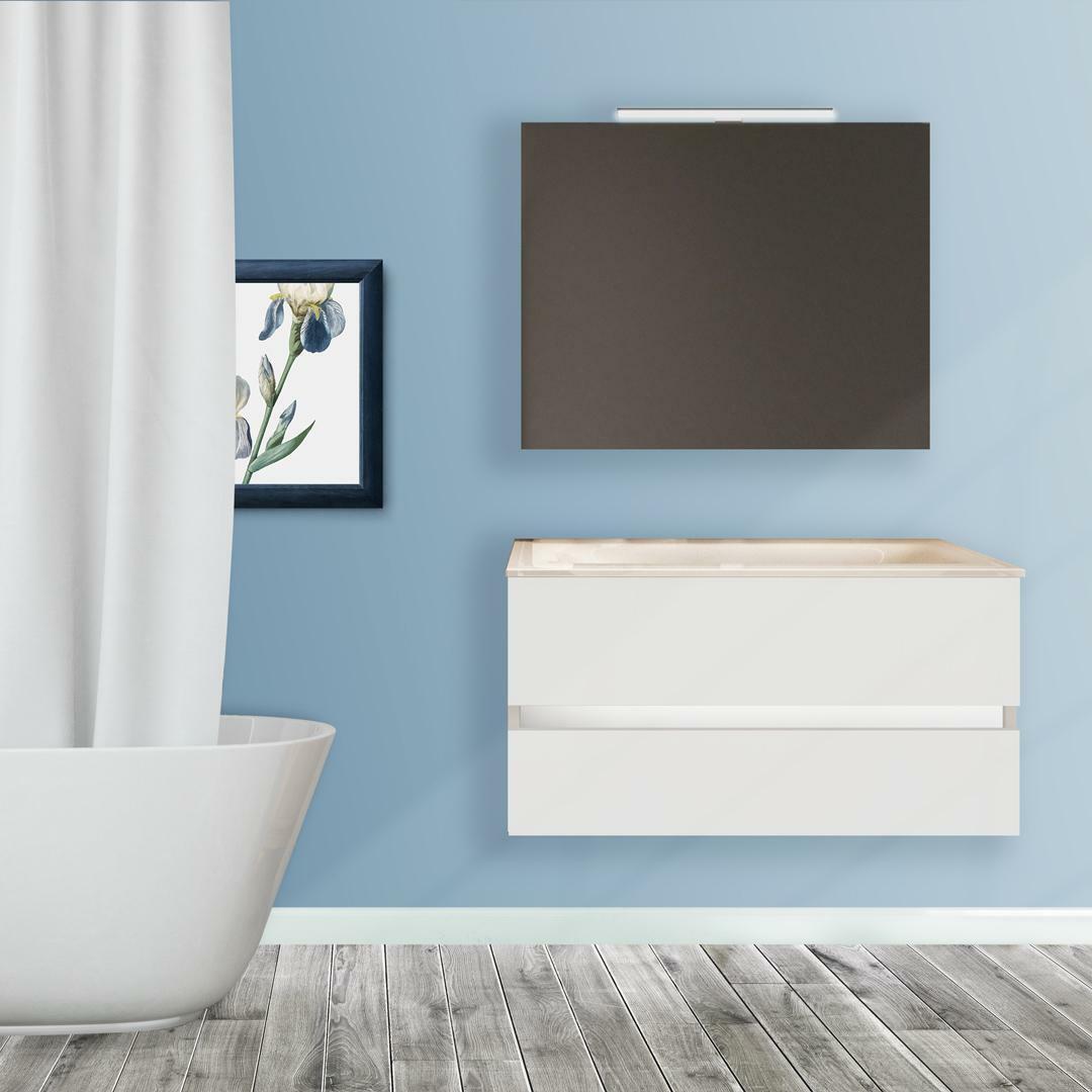 specialisti del bagno mobile da bagno monoblocco sospeso privo di maniglie con specchio e lampada laccato opaco l 80 specialistidelbagno