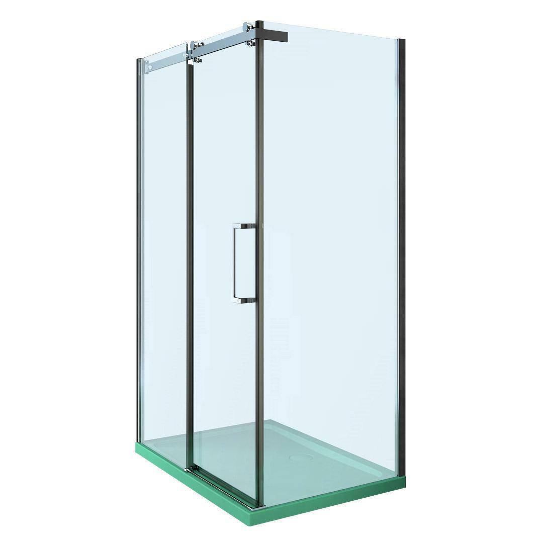 specialisti del bagno box doccia nizza porta scorrevole + fisso 90x90 reversibile trasp. 8mm specialistidelbagno