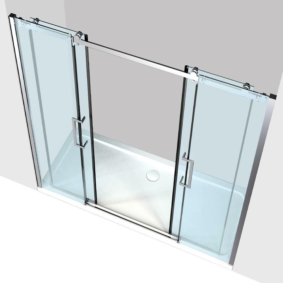 specialisti del bagno box doccia nizza doppia porta nicchia 160 reversibile trasp. 8mm specialistidelbagno