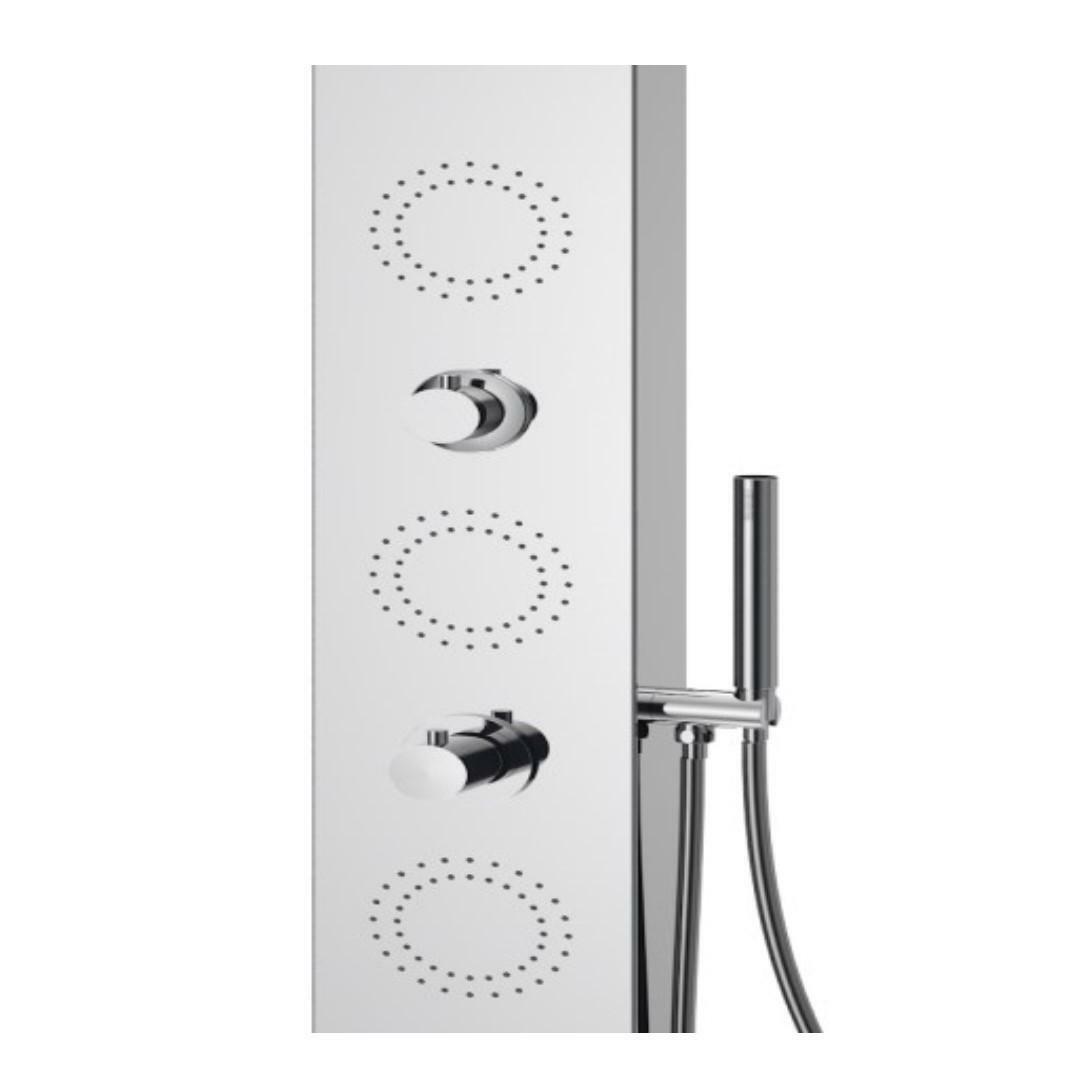 specialisti del bagno colonna doccia compact termostatica con design stondato acciaio inox lucido specialistidelbagno