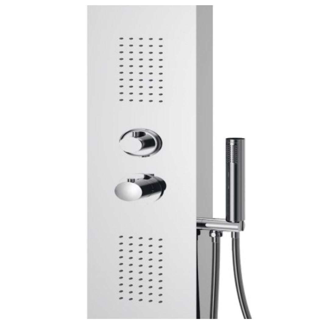 specialisti del bagno colonna doccia fresh termostatica con soffione a 90 gradi acciaio inox lucido specialistidelbagno