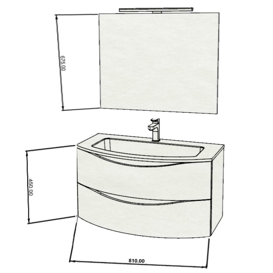 specialisti del bagno mobile da bagno monoblocco sospeso curvo privo di maniglie con specchio e lampada in laminato l 81 specialistidelbagno