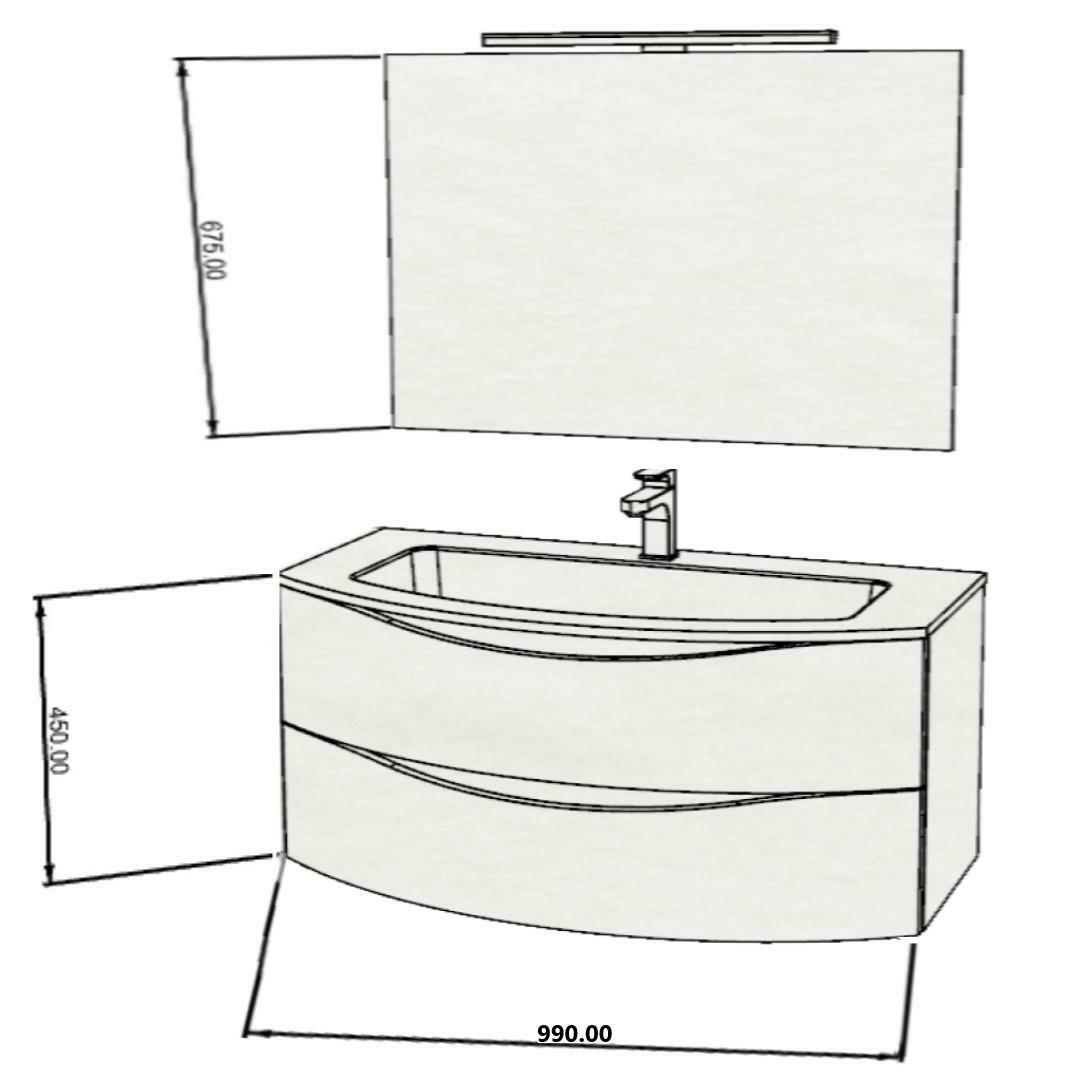 specialisti del bagno mobile da bagno monoblocco sospeso curvo privo di maniglie con specchio e lampada in laccato opaco l 99 specialistidelbagno