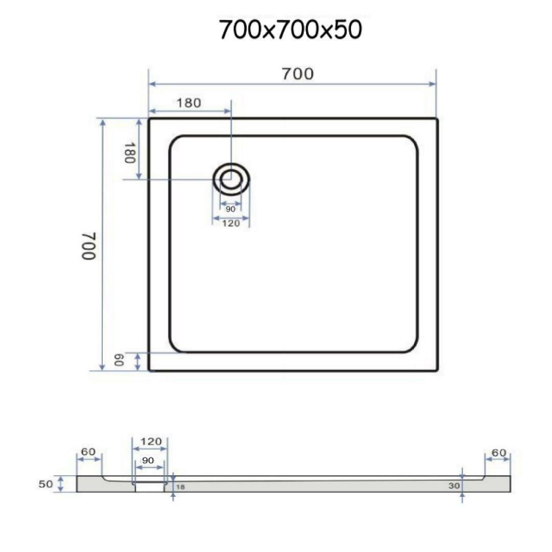 specialisti del bagno piatto doccia regular con bordo quadrato 70x70 h5 specialistidelbagno