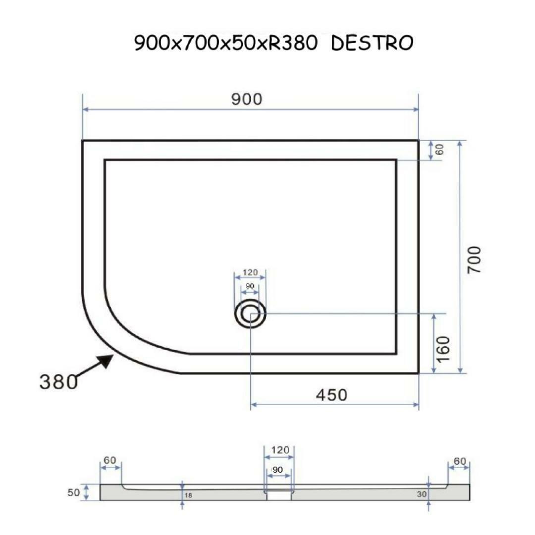 specialisti del bagno piatto doccia regular con bordo asimmetrico 70x90 destro h5 specialistidelbagno
