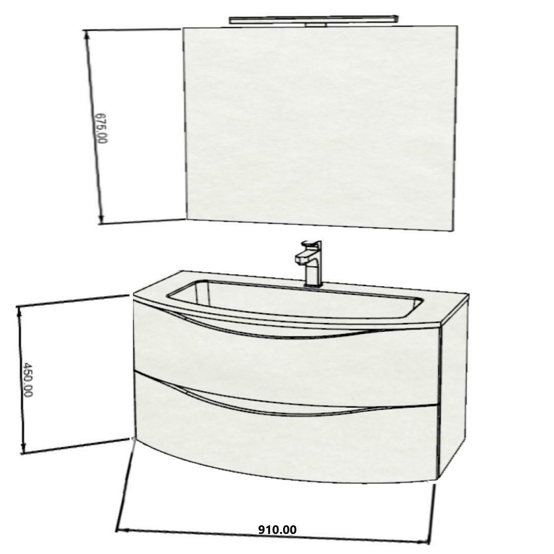 specialisti del bagno mobile da bagno monoblocco sospeso curvo privo di maniglie con specchio e lampada in laminato l 91 specialistidelbagno