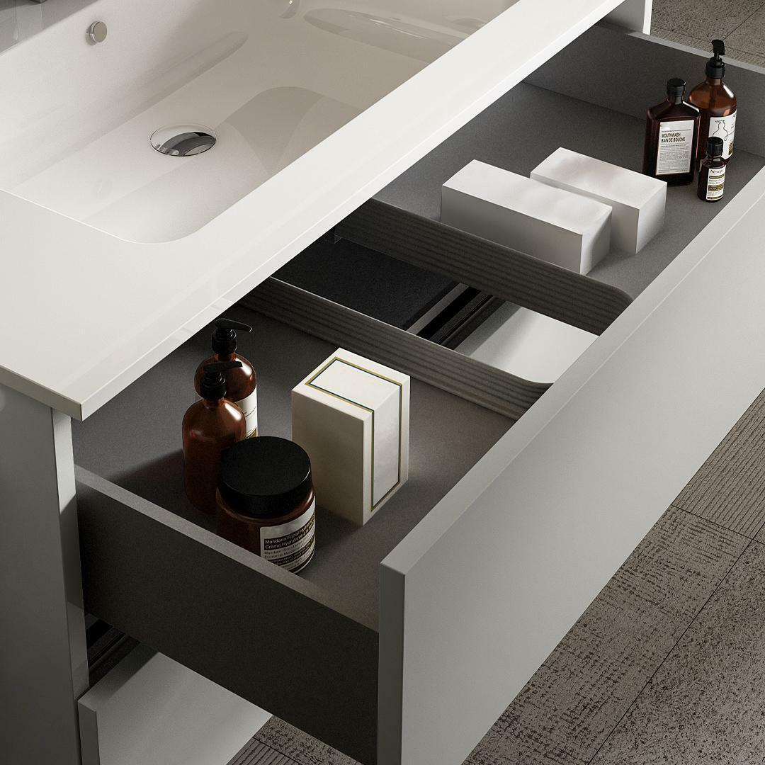 specialisti del bagno mobile da bagno monoblocco sospeso privo di maniglie con specchio e lampada laccato lucido l 80 specialistidelbagno