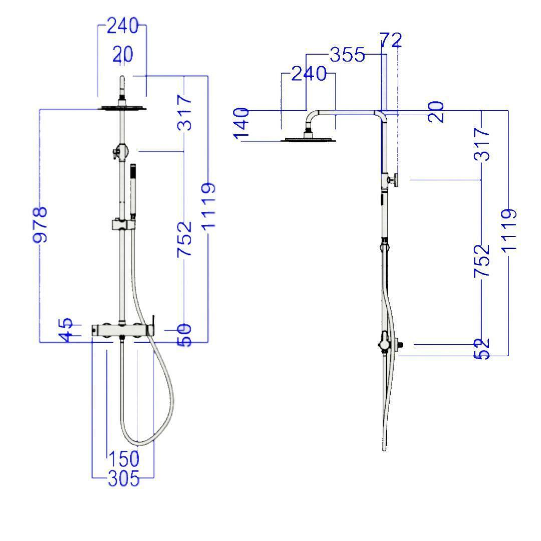 specialisti del bagno saliscendi m-round manuale acciaio inox con soffione tondo diametro 30cm specialistidelbagno