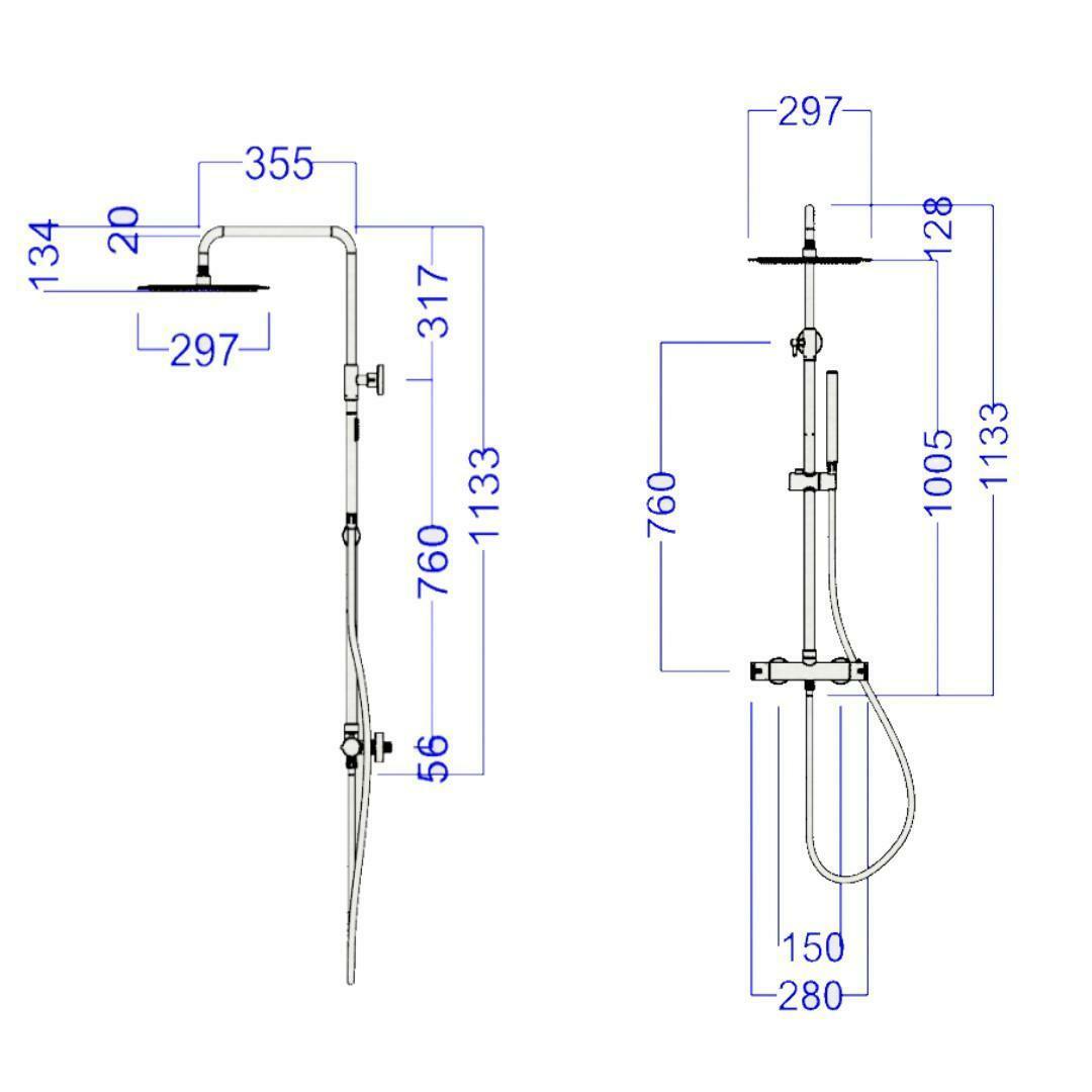 specialisti del bagno saliscendi t-round termostatico acciaio inox con soffione tondo diametro 30cm satinato specialistidelbagno