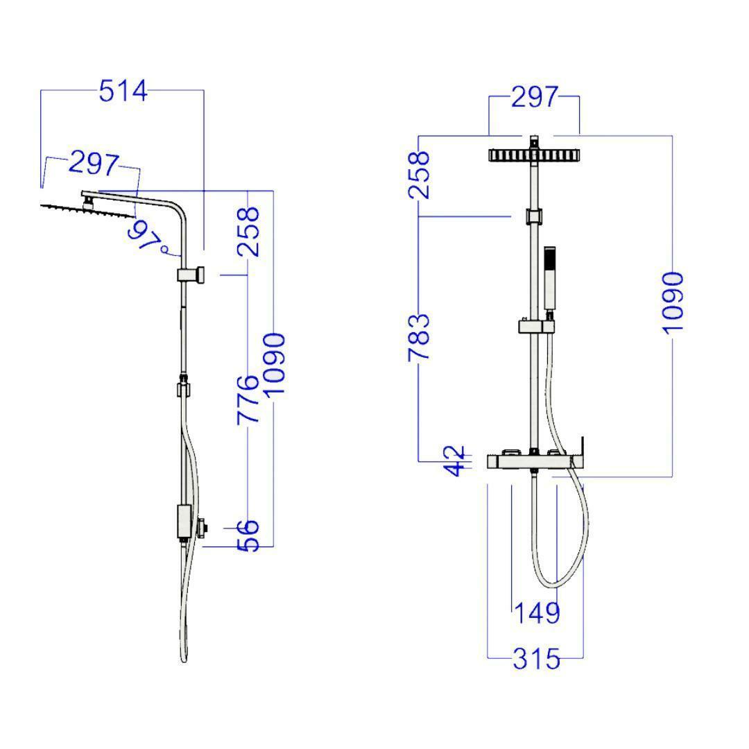 specialisti del bagno saliscendi m-minimal manuale acciaio inox con soffione quadrato 30x30 specialistidelbagno
