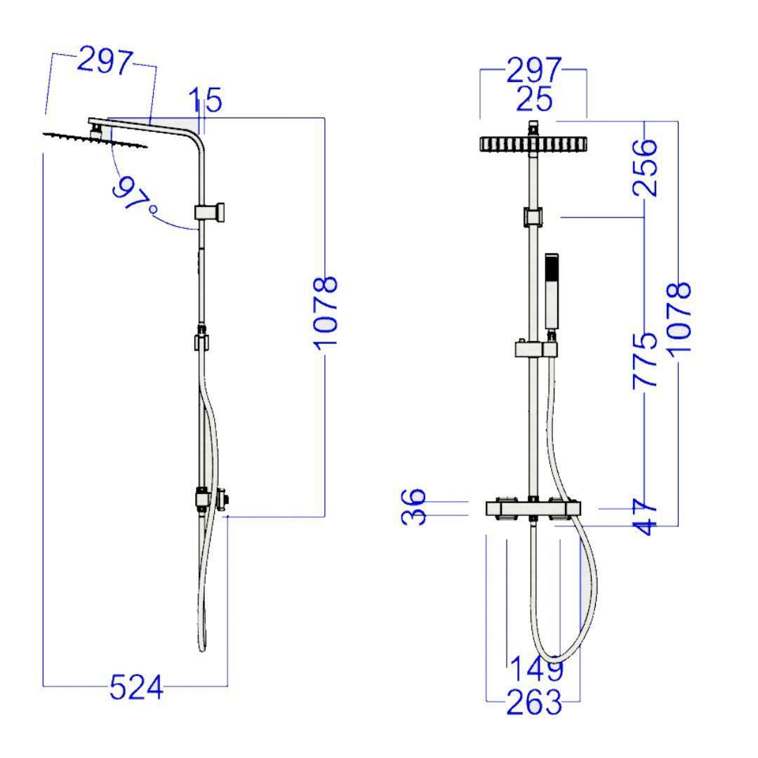 specialisti del bagno saliscendi t-minimal termostatico acciaio inox con soffione quadrato 30x30 specialistidelbagno