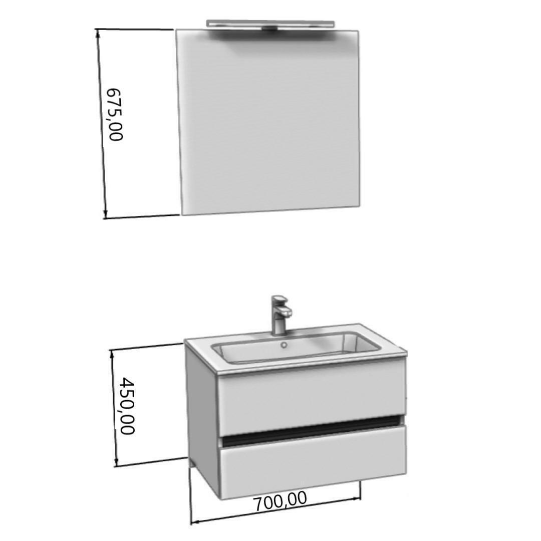 specialisti del bagno mobile da bagno monoblocco sospeso privo di maniglie con specchio e lampada in hpl l 70 specialistidelbagno