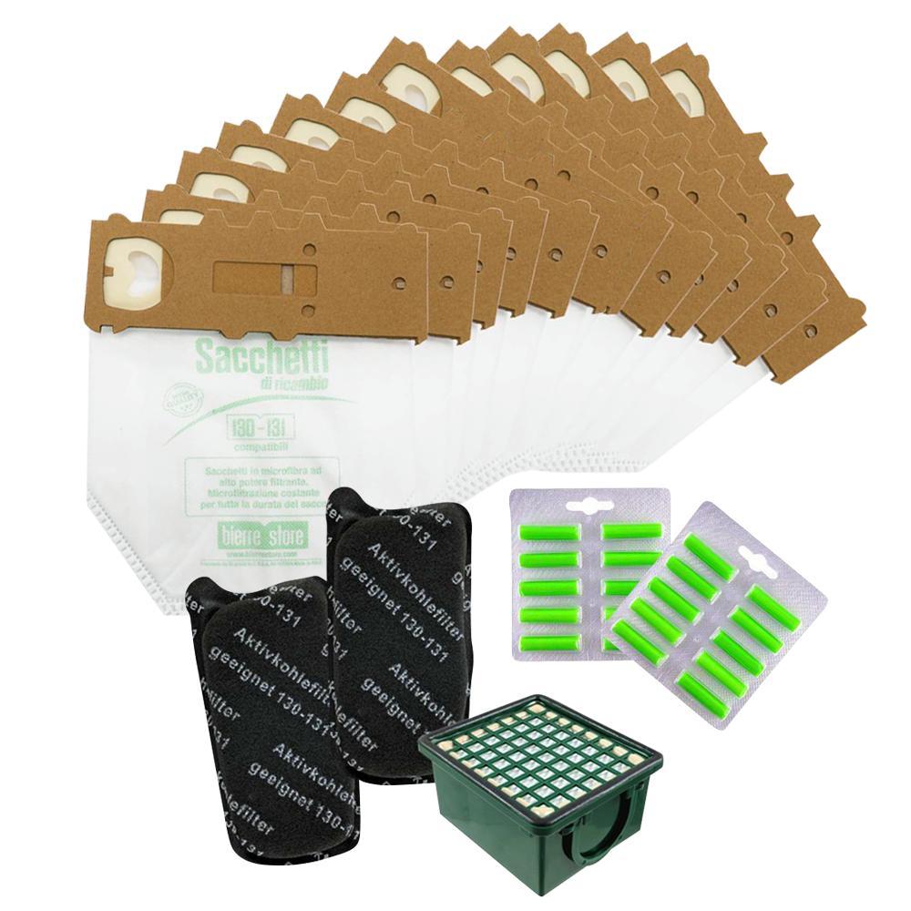 bierre store sacchetti folletto vk 131 vk 130 12 pz microfibra + filtri compatibili