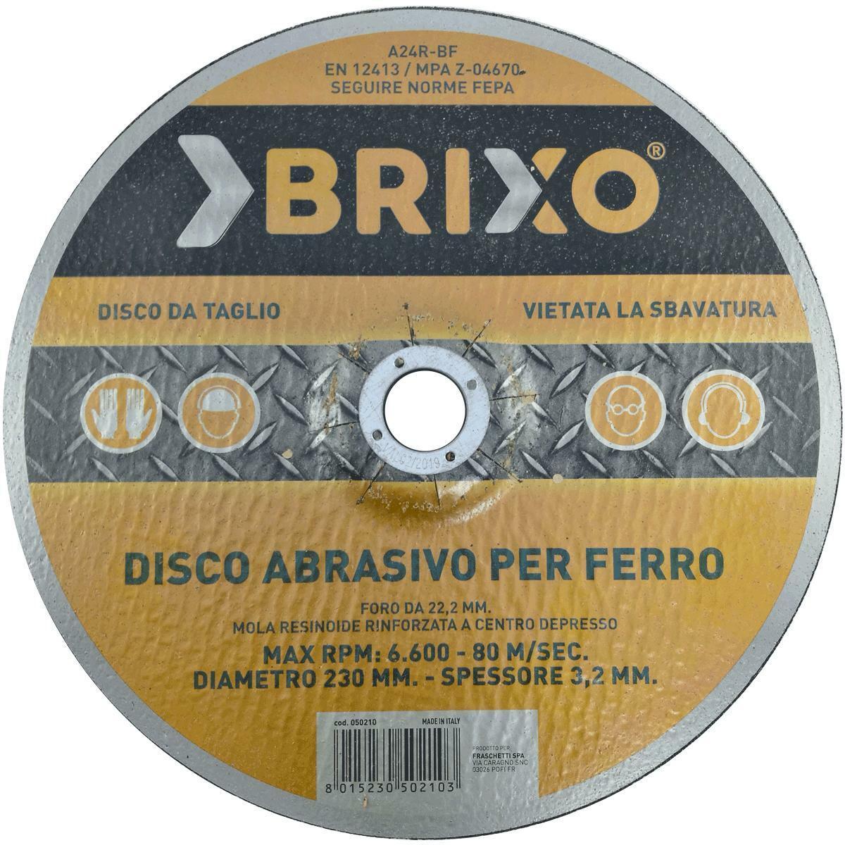 brixio disco abrasivo metalli 230mm 3.2mm smerigliatrice