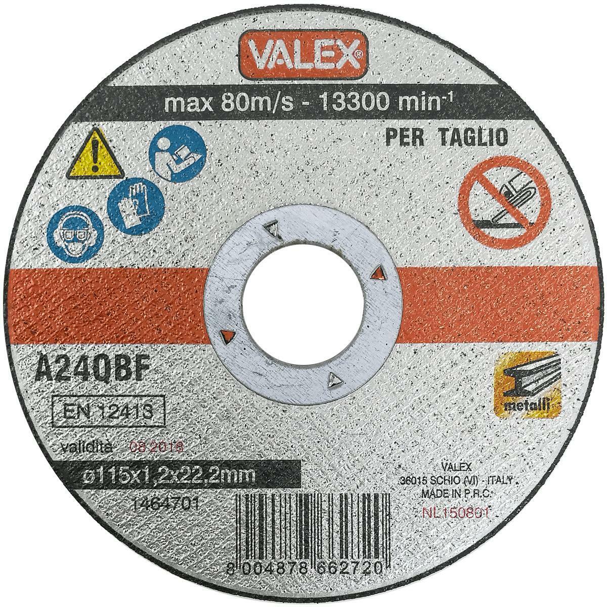 valex disco taglio metalli per smerigliatrice 115mm 1.2mm 6pz