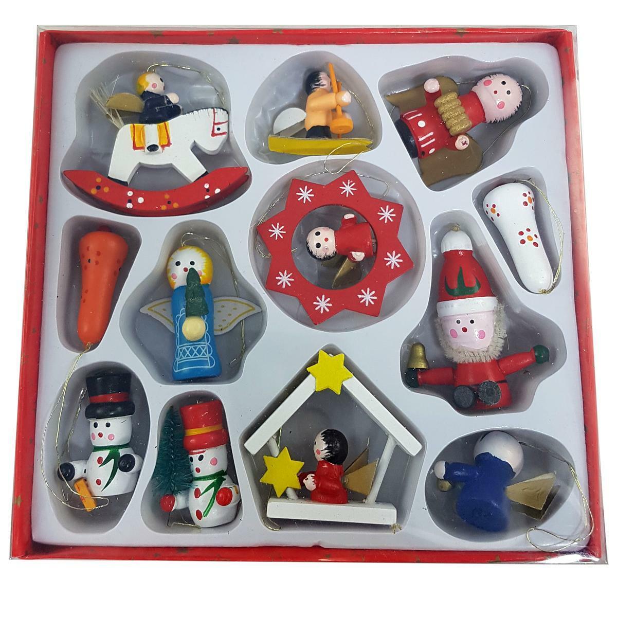 bierre store kit 12 pezzi addobbini natalizi 3 cm da appendere in legno