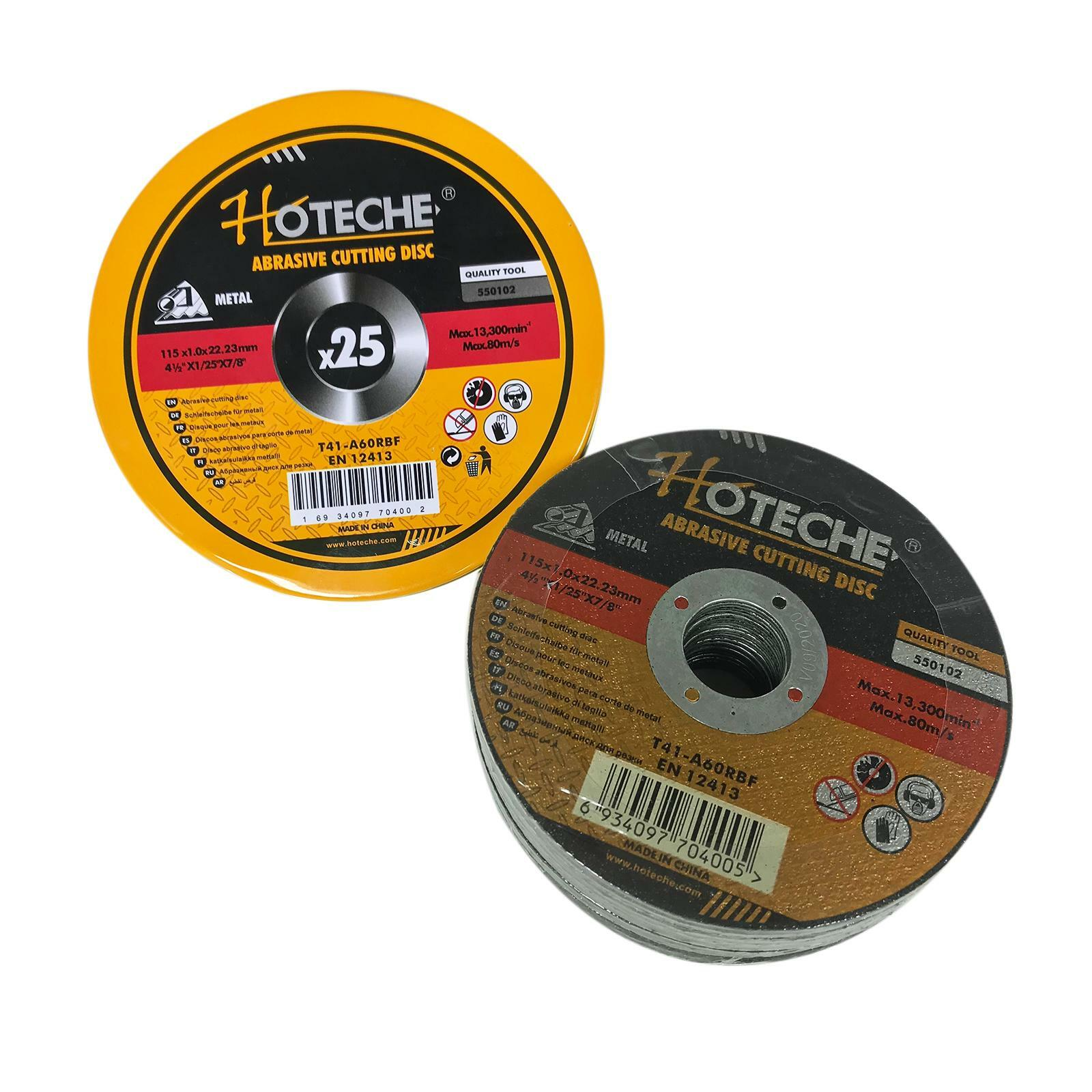 hoteche set 25 dischi abrasivi da taglio metalli 115mmx1