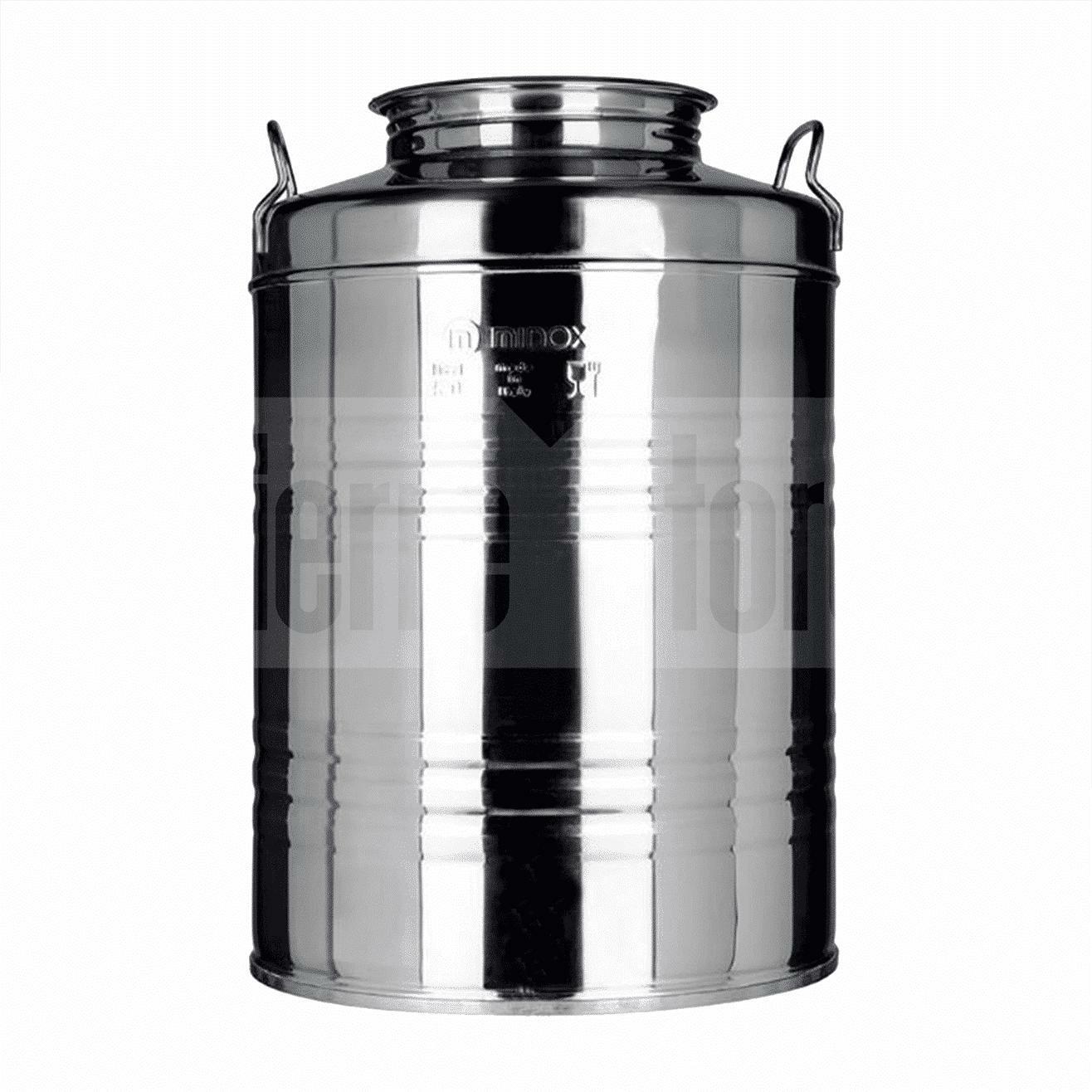 minox fusto 50l per alimenti graffato in acciaio inox 18/10