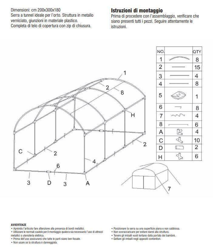verdelook serra a tunnel da orto in pvc/metallo 200x300x180 cm