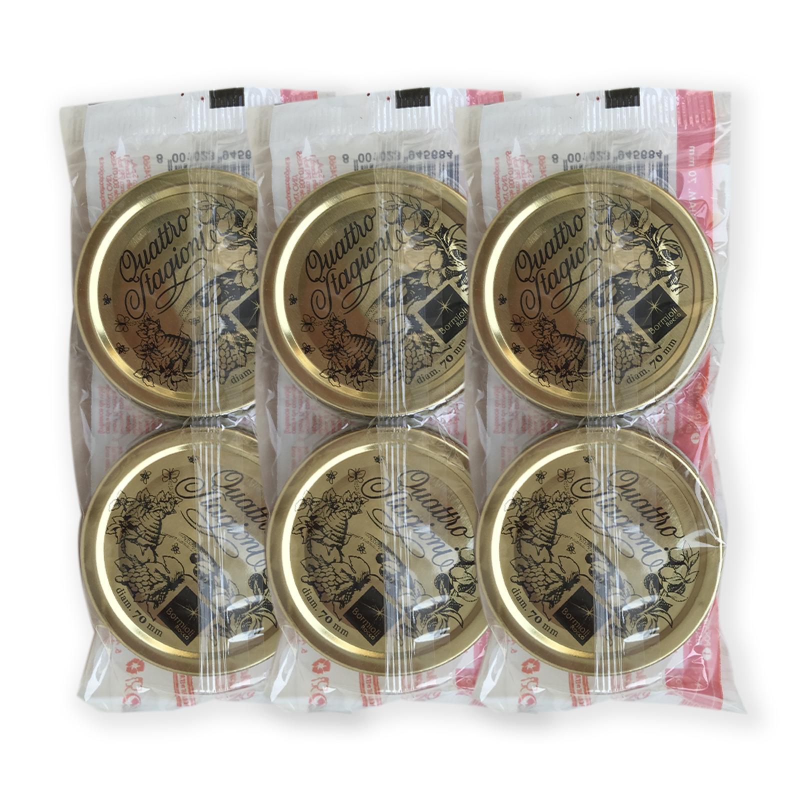 bierrestore tappi vasetti in vetro 70mm quattro stagioni bormioli 6 pz