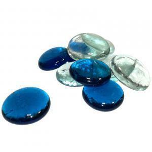 ciottoli decorativi 30 mm - trasparente/blu royal (100ml)