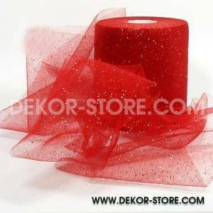 tulle glitter rosso 12,5 cm x 100 mt