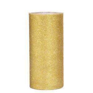 tulle glitter oro 25 cm x 100 mt