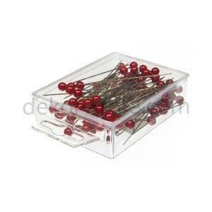 spilli con testa di perla rosso 10mm x 60 mm - 50pz