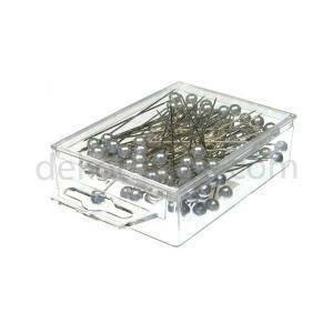 spilli con testa di perla argento 20mm x 90 mm - 6 pz