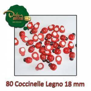 coccinelle legno 18 mm con biadesivo (80pz) - rosso