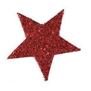 eurosand stelle decorative glitter 60 mm - rosso (12 pz)
