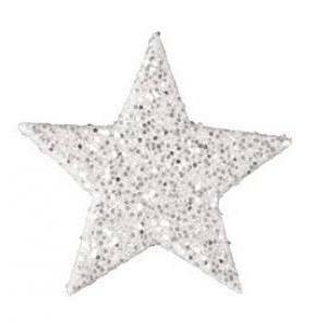 eurosand stelle decorative glitter 60 mm - bianco (12 pz)