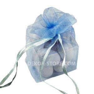 sacchetto celeste in organza con cubo 4x4x4cm - porta confetti o riso