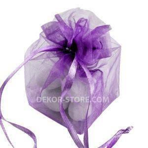 sacchetto lilla in organza con cubo 4x4x4cm - porta confetti o riso