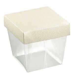 scotton spa scotton spa coppetta75x75x90 mm pvc trasparente - pelle bianca