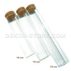 provetta 12 cm in vetro con tappo in sughero - trasparente