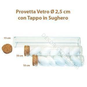 kit 48 provette 10 cm in vetro con tappo in sughero - trasparente