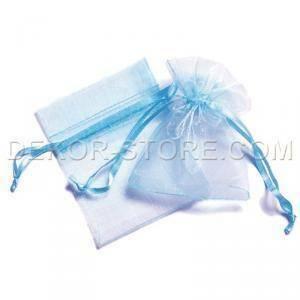 sacchetto in organza celeste - 7 x 8.5 cm