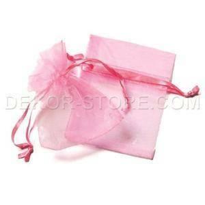 sacchetto in organza rosa - 7 x 8.5 cm