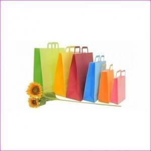 shopper bicolore pompelmo con maniglia piatta - 22x10x29 cm
