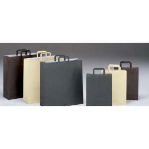 shopper in carta cioccolato con maniglia piatta - 18 x 8 x 24 cm