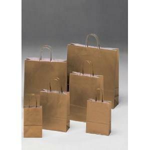 shopper in carta oro con maniglia ritorta - 14 x 8,5 x 21 cm