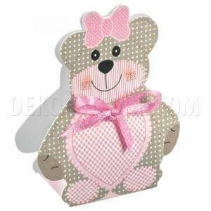 scotton spa scatola 35x25x60mm a forma di orsacchiotto - teddy bear rosa